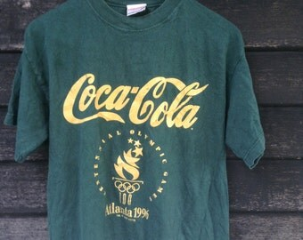 Sale Vintage 90s Coca Cola Olympic Atlanta 1996 with Copyright 1992 By ACOG Made in USA Size Medium