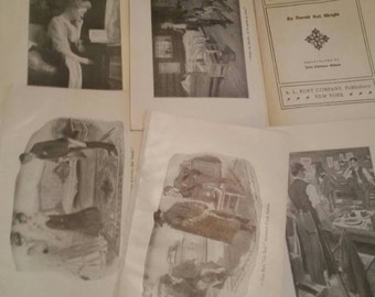 John Clithero Gilbert illustrations original book prints, lot of 5 pages