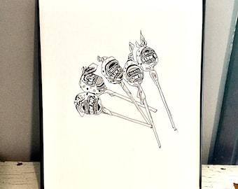 "Candy - Original Illustration Print: ""Blowpops"" 8x10 in."
