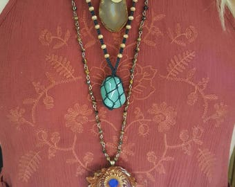 Aventurine healing crystal hemp necklace/ adjustable necklace/crystal jewelry/ macrame