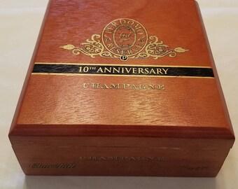 Wooden Cigar Box, Perdomo, 10th Anniversary, Champagne, Churchill