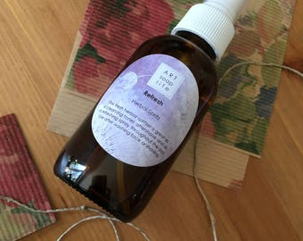 Refresh Herbal Spritz, locally made in winnipeg MB, toner and aftershave, rosewater, witch hazel, essential oils, glycerin, refresh