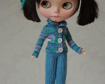 Set for Blythe doll, Sweater for Blythe, Knitted outfit for Blythe doll, Blue sweater, Blue horse