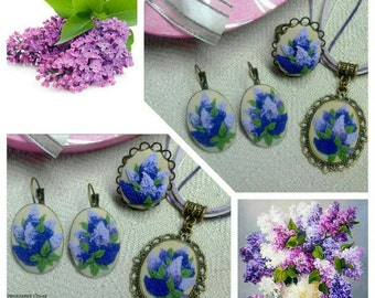 Polymer clay set. Earrings, ring and pendant. Gift for women or girl.