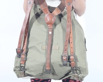 Vintage Canvas Backpack with Leather Straps