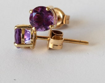 14k Yellow Gold Amethyst Earrings February Birthstone Gift Her Wedding Anniversary