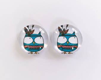 The 'Retro Owl' Glass Earring Studs