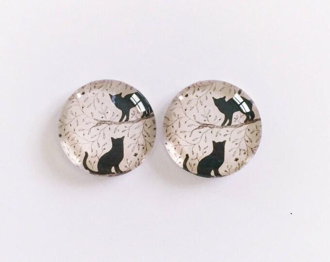 The 'Black Cat' Glass Earring Studs