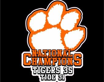 Clemson Tigers National Football Champs, Tigers Football National Champs Decal, Clemson Tiger Decal, Clemson Tiger Sticker