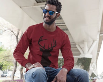 Long Sleeve Shirt - Mens Shirt - Winter Shirt - Hunting Shirt - Deer Shirt - Gifts Under 25 - Christmas Gift
