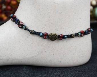 Czech picasso bead and czechmates macrame ankle bracelet,beaded anklet,bohemia,micromacrame,boho,hippie