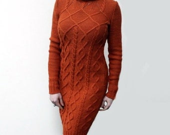 Hand knit dress, merino wool cable dress, long sleeves knitted dress, turtleneck dress, made to order, custom knitting, aran style, bespoke