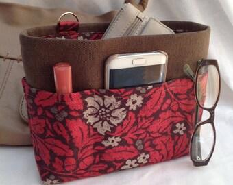 Handbag insert - Bag organiser - Handbag Caddy - Purse insert - 'Oak Leaf' Print