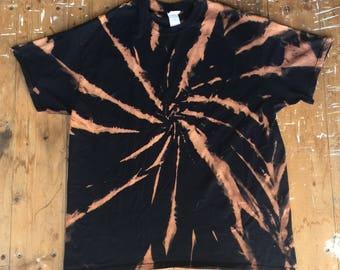 Bleached Plain Black T-Shirt Size XL