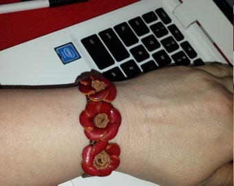 FLASH SALE:  Leather Rosette Bracelet