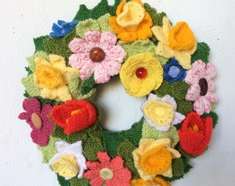 Knitted Spring Wreath