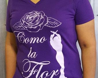 Selena Quintanilla Shirt - Como la Flor Tee - Tejano Graphic Tee - Corpus Christi Native - Queen of Tejano Tee - Purple -  Tejano T-shirt