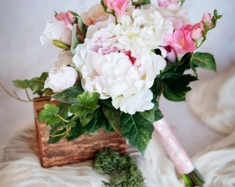 White/Pink Peony and Rose Bouquet