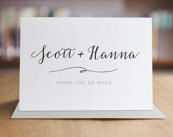 Personalized Thank You Note Card Set /  Calligraphy Thank You Cards / Modern Stationery / Folded Shimmer Note Cards - T310