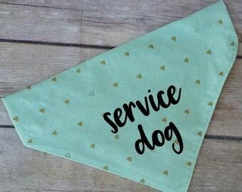 Service Dog Bandana / Therapy Dog Bandana / Mint Dog Bandana / Gold Dog Bandana / Dog Bandana / Over the Collar / Mint Heart Dog