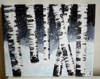 Birch trees in snow. Acrylic on canvas