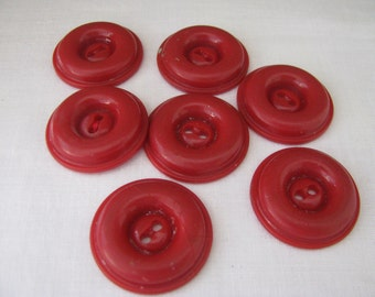 7 Matching Vintage Red Plastic Buttons
