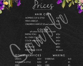 Salon Price List - Muted Blooms Chalk Board