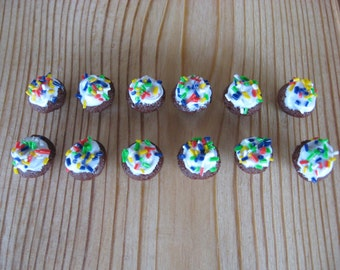 12 Pieces Miniature Chocolate Cup Cakes With White Frosting and Sprinkles