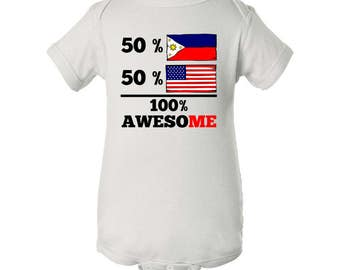 Half Filipino Half American 100% Awesome Baby Bodysuit