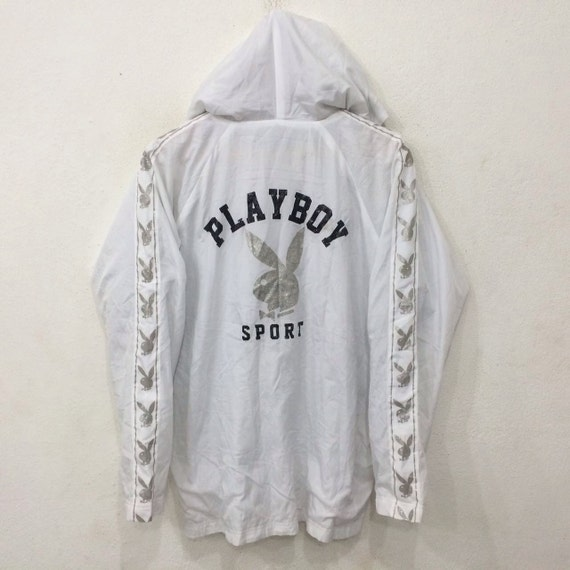 Rare! Vintage PLAYBOY SPORT Big Logo Spellout Full Zipped Hooded Windbreaker White Colour Large Size