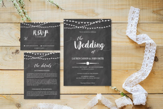 Chalkboard wedding invite,Printable Wedding Invitation Suite,Wedding Invite Set,Wedding Printable,Calligraphy