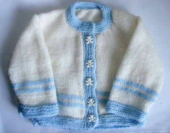 Handmade Knitted Baby Cardigan, White and Blue, cute Teddy Buttons