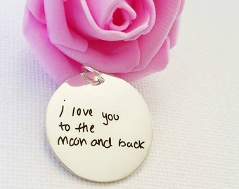 FREE SHIPPING - 30% OFF ** Mother's day - Signature Charm - Actual Handwriting Charm  - Kid's Art Charm - Heart, Rectangle, Square Charm