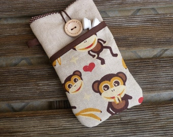 iPhone 7 case monkey fabric, Protective iPhone 6 Plus Pouch , iPhone SE sleeve , iPhone 6 Fabric Case, iPod case, sister birthday gift