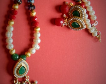 Handmade bollywood red/green~ stone/pearl~Necklace set~Gift/bridal~Jewelry~Freshwater pearls