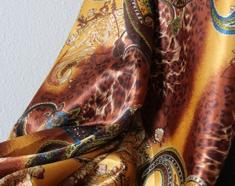Brown/Gold/Blue Leopard Print and Paisley