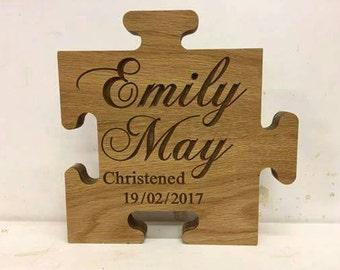 Personalised Oak Veneer Wooden Christening - Birthday - Jigsaw Freestanding Gift Memento