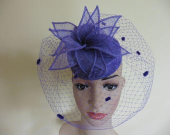 Purple Pillbox,Purple Wedding Hat,Purple Ascot Hat,Purple Occasion Hat, Wedding Hat,Ascot Hat, Race Hat,Occasion Hat