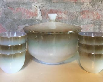 Federal Glass Milk Glass Covered Casserole with Cups/Bowls in Mesa/Moss Brown // 1960's