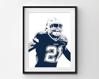 Dallas Cowboys Art - Dallas Cowboys Print - Dallas Cowboys Wall Art - Dallas Cowboys Poster - Ezekiel Elliot Digital Illustration