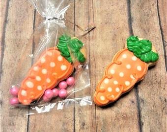 Carrot Shaped Cookies - Carrot Cookies - Easter Cookies - Decorated Cookies - Sugar Cookies - Easter Treats - Packaged Cookies