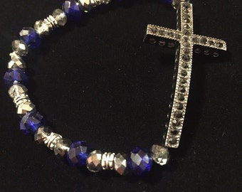 Cross with Blue and silver crystal beads
