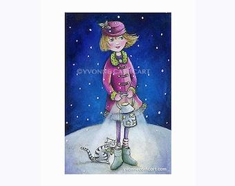 Nursery art print, girl print, girl and cat art, kids wall art, kids painting, kids illustration, art for girls room, girl in winter, prints