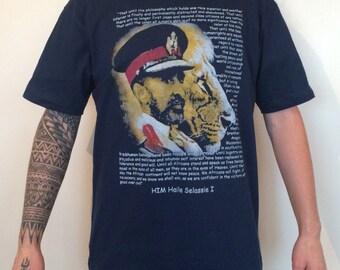 Navy Blue Haile Selassie T-Shirt