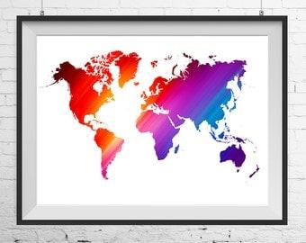 World map print, World map poster, office print, office poster, kids room print, kids room poster, office art, modern print, modern poster