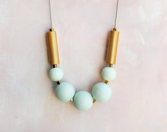 Geometric Necklace, Boho necklace, Statement Necklace, Bohemian Jewelry, Handmade necklace, Wooden necklace Pale Green Gold Pastel
