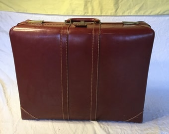 Vintage Olympic Suitcase, Red Leather Luggage, Brass Hardware, Antique Luggage, PERFECT CONDITION