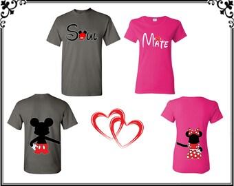 Soul Mate Mickey Minnie Couple T shirts Soul Mate Mickey Minnie Front Back Couple T-shirts Soul Mate Couple T shirt Gift For Couple