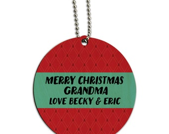 Merry Christmas Red Blue Personalized Round Wood Id Tag Luggage Card Suitcase