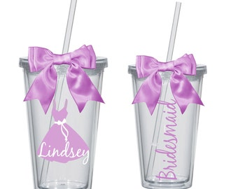 Bridal party tumblers~ wedding Tumblers ~bridesmaid tumbler